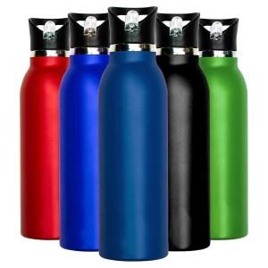 Millenti Stainless Steel 21oz Powder Coated Water Bottles - Aqua Marine Blue
