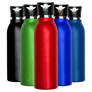 Millenti Stainless Steel 21oz Powder Coated Water Bottles - Red